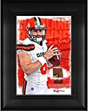 """Baker Mayfield Cleveland Browns Framed 5"""" x 7"""" Player Collage with a Piece of Event-Used Football - NFL Player Plaques and Collages"""