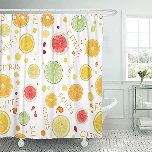 Emvency Fabric Shower Curtain with Hooks Green Blots with Watercolor Citrus Fruit White Orange Citric Color Cut Diet Drawing 72