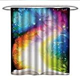 Fish Tales Shower Curtain Anniutwo Magic Decorkids Shower curtainPsychedelic Open Book of Fairy Tales on Gradient Rainbow Color Floral BackgroundRound Shower Curtain rodMulti