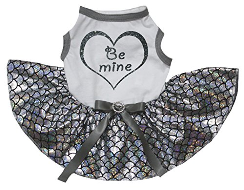 Petitebelle Pet Supply Be Mine White T-Shirt Silver Fish Scale Mermaid Dog Dress (Large)