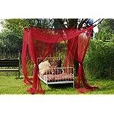 Leguana Ciel de lit moustiquaire pour lit à baldaquin simple ou double Bordeaux