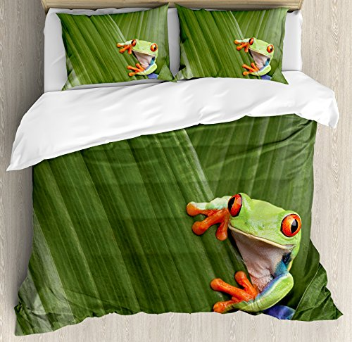 Ambesonne Animal Duvet Cover Set Queen Size, Red Eyed Tree Frog Hiding in Exotic Macro Leaf in Costa Rica Rainforest Tropical Nature, Decorative 3 Piece Bedding Set with 2 Pillow Shams, Green