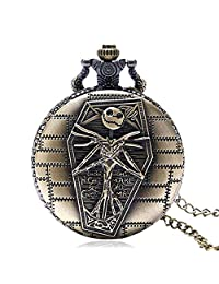 Christmas Pocket Watch,Vintage Skull Quartz Pocket Watch with Chain Jumbo Clock Necklace Costume Jewelry for Women/Men Gifts