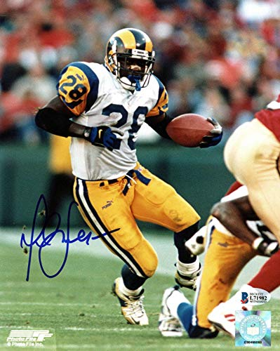 Autographed Marshall Faulk Photograph - 8x10 BAS Witnessed #I71982 - Beckett Authentication - Autographed NFL Photos