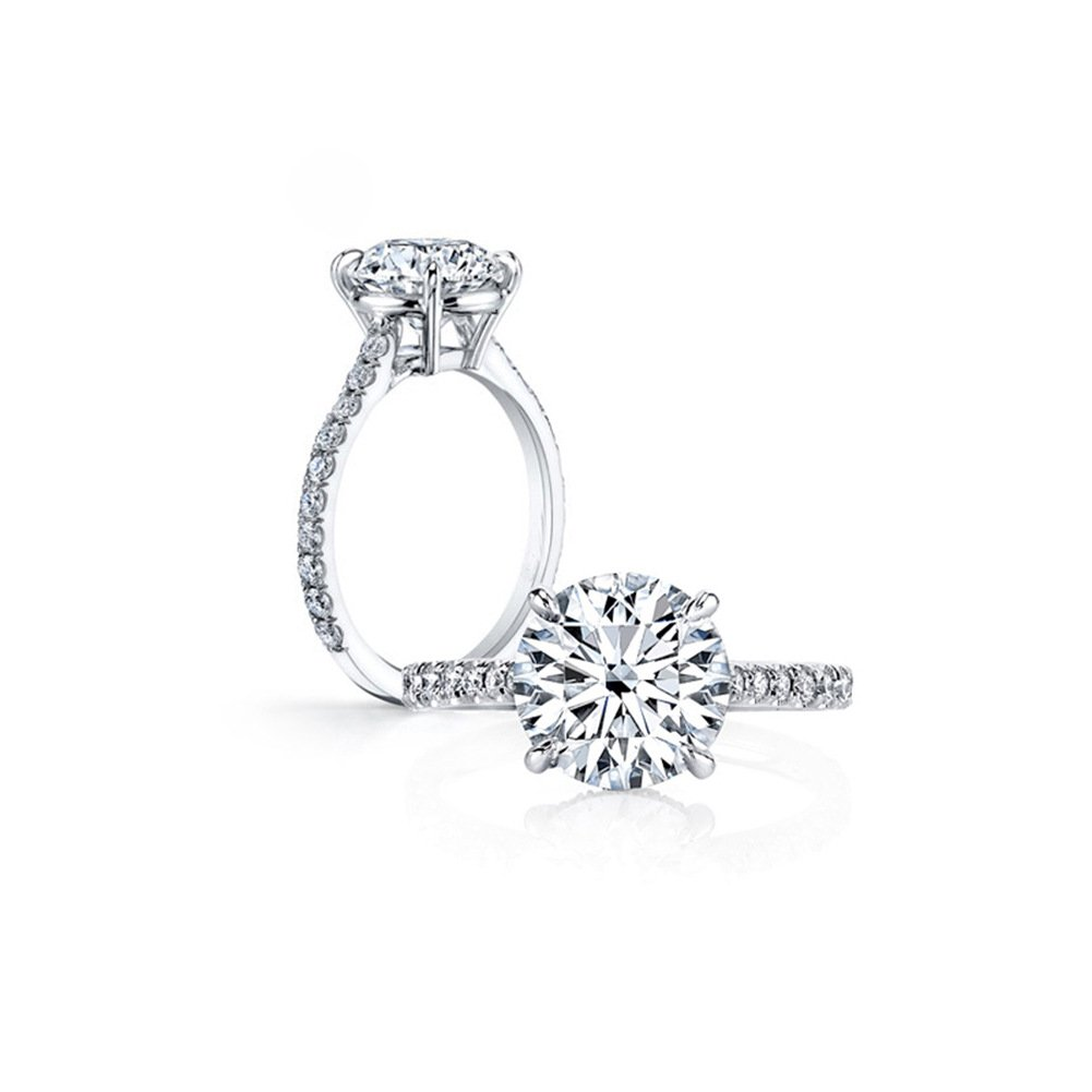 925 Sterling Silver Prong Set 3 Carat Cubic Zirconia Classic Round Engagement Ring
