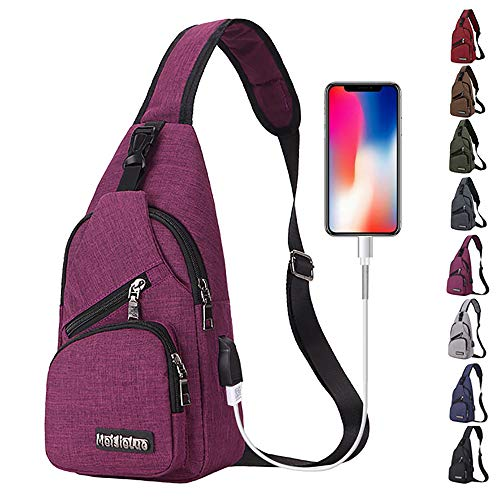 Peicees Small Travel Gym Bike Canvas Sling Bag, Laptop iPad Mini Sling Chest Cross Body Backpack, Water Resistant One Shoulder EDC Crossbody Daypack with USB Charging Port for Men Women Boys and Girls