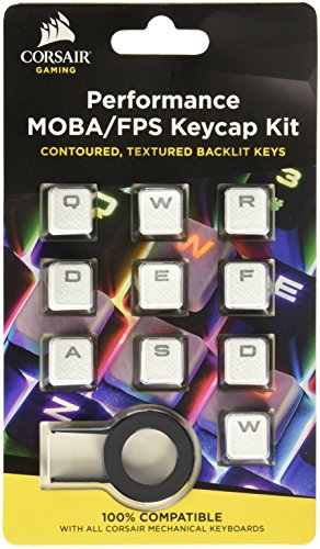 CORSAIR Gaming Performance FPS MOBA Keycap Kit - for Mechanical Keyboards  - Include Key Puller - White