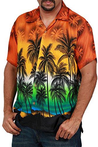 Men's Hawaiian Shirt Button Down Casual Aloha Short Sleeve Beach Shirts (Orange Palm Trees, ()