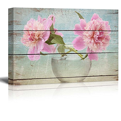 Two Flowers posed in a Clear Glass Vase Rustic Floral Arrangements Pastels Colorful Beautiful Wood Grain Antique