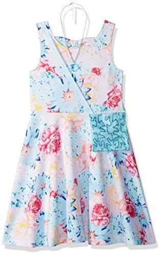 [Sweet Heart Rose Little Girls' Floral Dress Necklace and Sequin Purse, Blue/Multi, 5] (Sweetheart Girl)