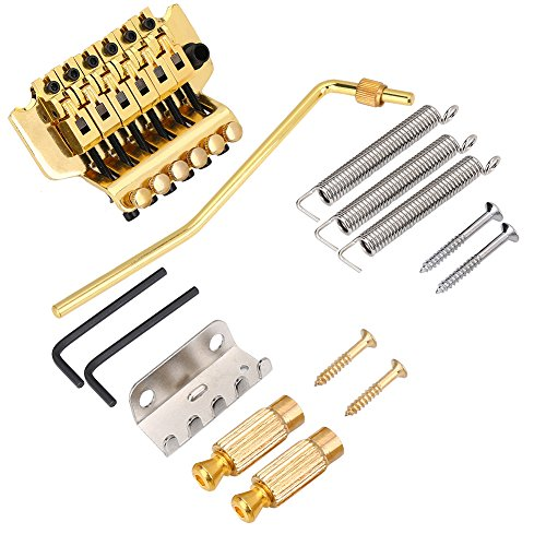 Guitar Tremolo Systems - Guitar Tremolo Bridge, Double Locking Vibrato Guitar Tremolo System Bridge Tailpiece with Locking Nut for LP 6 String Electric Guitar