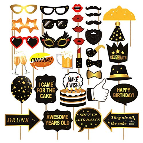 Birthday Photo Booth Props,Fully Assembled,No DIY Required,Mix of Hats,Lips,Crowns,Mustaches and More,Durable and Vibrant For Birthday Party (34pcs photo props) ()