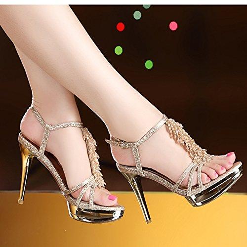 Bien Haut Mot Chaussures D'Or Un Très Femmes Talon Boucle De Romain unie Sandales SHOESHAOGE Avec Couleur AEnWIwFqT