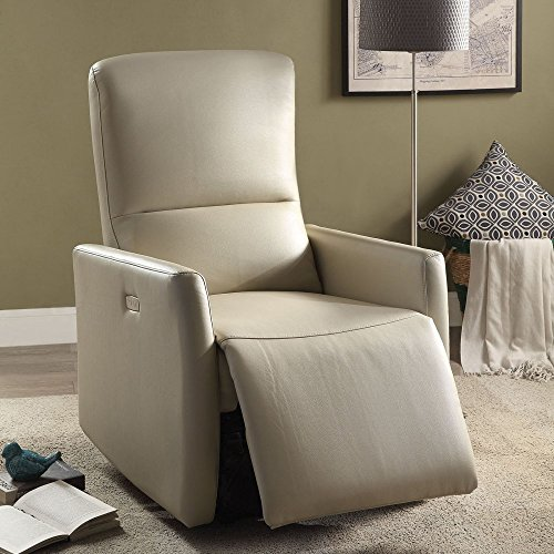 ACME Furniture 59408 Raff Power Motion Recliner, Beige Leather-Aire (Beige Leather Recliner)