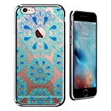 Luxendary Turquoise & Blue Mandalas with Apple Logo Circle Ultra Slim Clear Case with Crome Finish for iPhone 6/6S