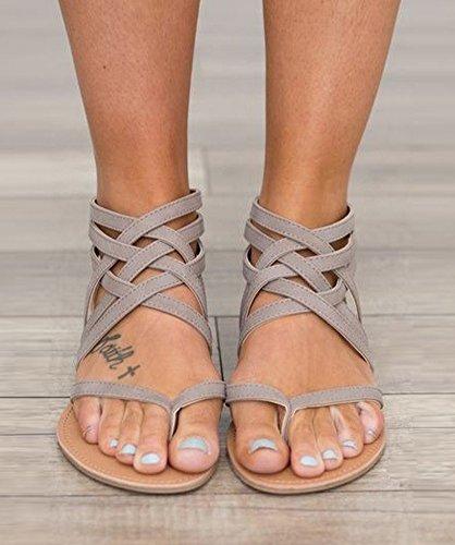 Clip Infradito Pantofole Cavo Piatto Sandali Minetom Piatti Romani Spiaggia Scarpe Senza Scava Grigio Tacco Elegante Donna 7WR4F1qz