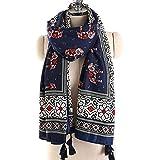 VISAER Womens 100% Twilled Cotton Fleeing Long Fashion Designer Scarf Travel Pashmina Tassel Bohemia Shawl Wrap