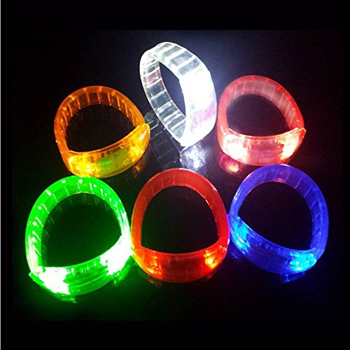 Sound Activated LED Glowing Bracelet Wristband for Party /Disco /Bar (White) - 1