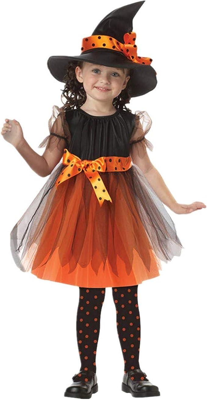 BaZhaHei Disfraz Halloween Niñas Vestidos y Sombrero Bruja Ropa ...
