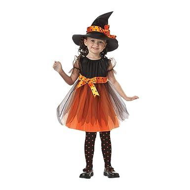 BaZhaHei Disfraz Halloween Niñas Vestidos y Sombrero Bruja Ropa Costume Vestirse Cosplay Bruja Traje de Rendimiento Equipo de Escenario Fiesta de ...