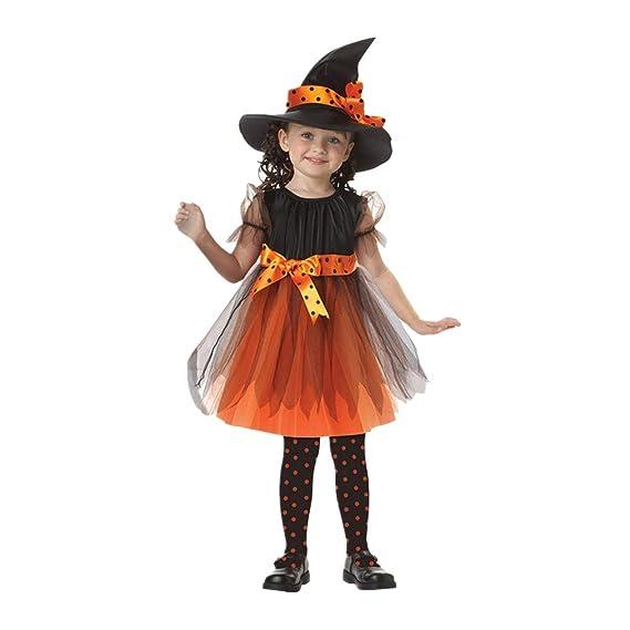 Bazhahei Disfraz Halloween Niñas Vestidos Y Sombrero Bruja Ropa Costume Vestirse Cosplay Bruja Traje De Rendimiento Equipo De Escenario Fiesta De