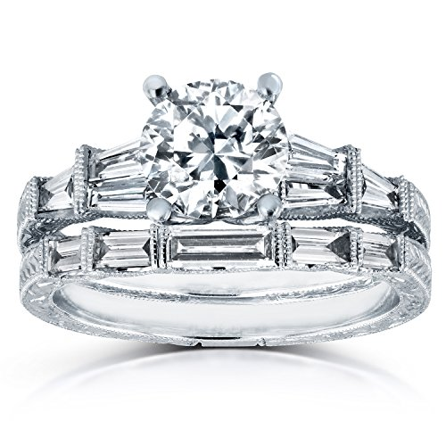 Tdw Wedding Ring Set (Round and Baguette Diamond Art Deco Bridal Rings Set Certified 1 4/5ct TDW in 18k White Gold)