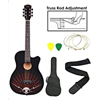 Kadence Zabel ZBTR11 Acoustic Guitar with Truss Rod with Bag, Strap, One Pack Strings and 3 Picks Combo (Black)