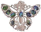Butterfly Abalone Paua Shell Sterling Silver 925 Pin Pendant