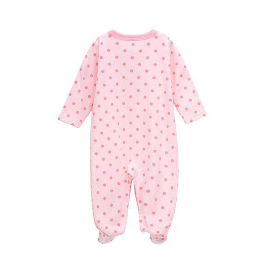 Deylaying Bebés Niñas Algodón Impresión Footed Pijama Recién nacido Infantil Manga Larga Romper Monos Ropa de dormir Invierno Otoño Playsuits Ropa: ...