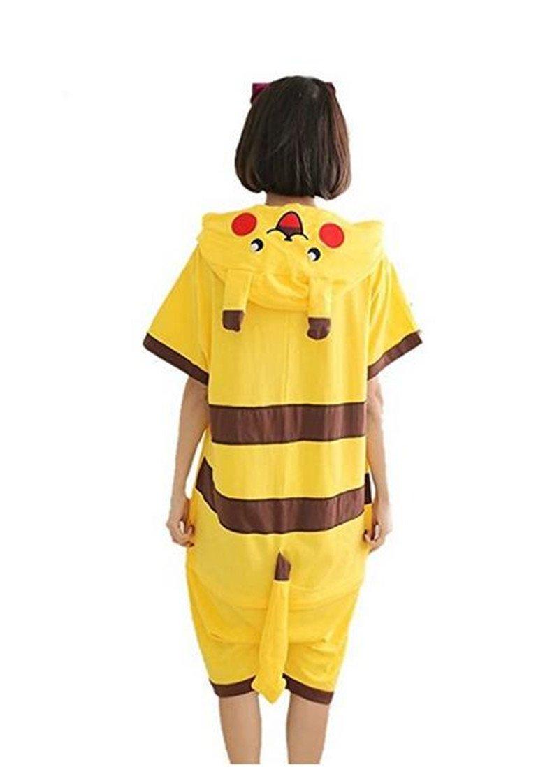kxry Adult Unisex Summer Pajamas Onesies Anime Pikachu Cosplay Sleepwear (Medium)