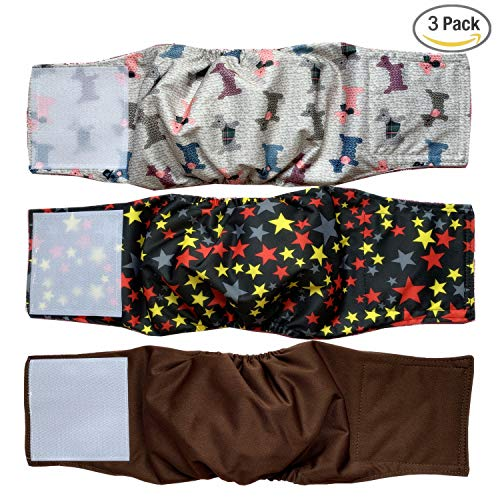 Cilkus Washable Male Dog Diapers (Pack of 3) - Washable Male Dog Belly Wrap M