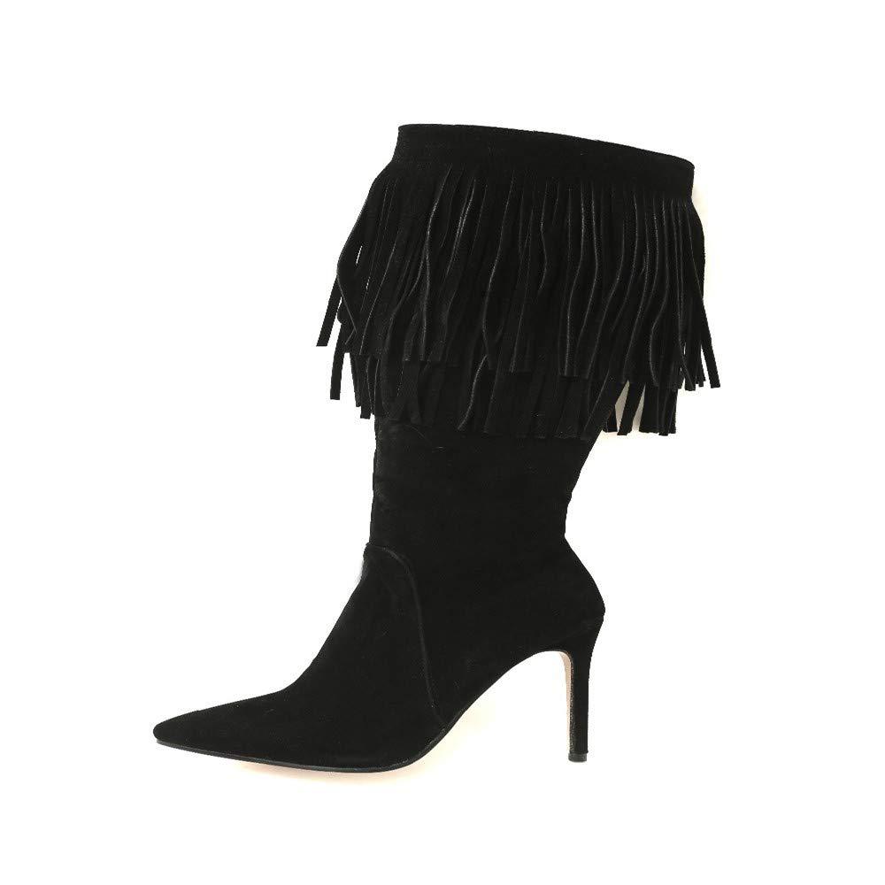 XPFXPFX Bewegung Freizeit Mode Trend Outdoor Sexy Winter Frauen Kniehohe Fransen Stiefel Schwarz Braun Dame Quaste Ferse Schuhe