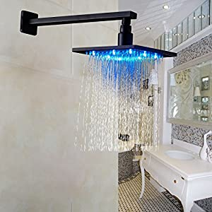 rozin led color 10 inch overhead rainfall shower head with wall mount shower arm oil rubbed bronze