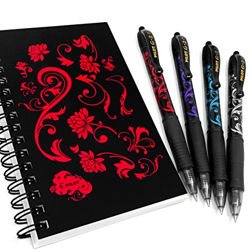 Pilot G-2 Victoria - 0.7mm Retractable Rollerball Pen - Wallet of 4 With Matching Notepad ()