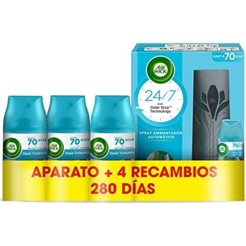 chollos oferta descuentos barato Air Wick Freshmatic Aparato y Recambios de ambientador spray automático esencia para casa con aroma a Oasis Turquesa 1 aparato y 4 recambios