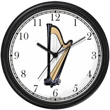Harp Musical Instrument – Music Theme Wall Clock by WatchBuddy Timepieces Hunter Green Frame