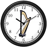Harp Musical Instrument - Music Theme Wall Clock by WatchBuddy Timepieces (Hunter Green Frame)