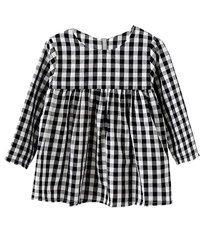 Little Girls High Waist Plaid Dress Black White Long Sleeve Spring Fall Playwear Size 110 (4T) Black Plaid by DeerBird (Image #1)