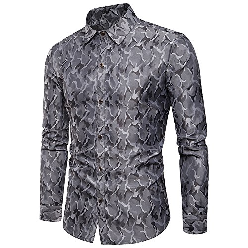 MAGE MALE Men's Luxury Dress Shirt Casual Long Sleeve Camouflage Fitted Wrinkle Free Shirt (Grey, Small)