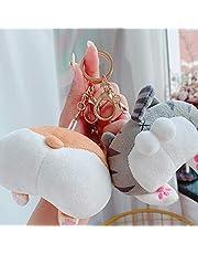 DSHUJC Cat Butt Bag Pendant Ke Base Dog Keychain Creative Cute Couple Plush Doll Bag Pendant