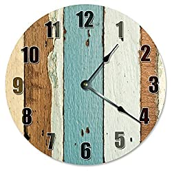 Antique Round Wood Clock for Bedroom Tan Ivory Teal Wood Wall Clock Art Decorative for Kids Room Large 15 Inch Living Room Clock Gift