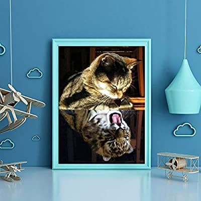 Malbaba Large 5D Diamond Painting Kits for Adults Kids Full Drill Kits Home Wall Art Decor by Number Kits - Cat: Toys & Games