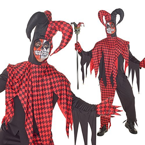 Mens Red And Black Evil Jester Joker Fancy Dress Costume - 4 Piece Quality Costume by Morph (Joker Fancy Dress Costumes)