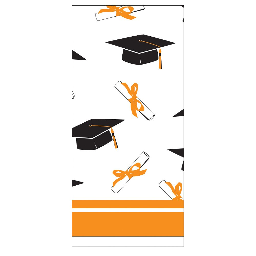 Creative Converting School Colors Paper Art Square Graduation Party Plastic Table Cover, Sunkissed Orange