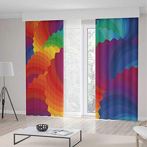 ALUONI Small Window Blackout Curtains TT01 Colorful Home Decor for Bedroom Living Dining Room Kids Youth Room Gradient Dash Sea Shell Inspired Wavy 2 Panel Set 196W x 104LInches ()