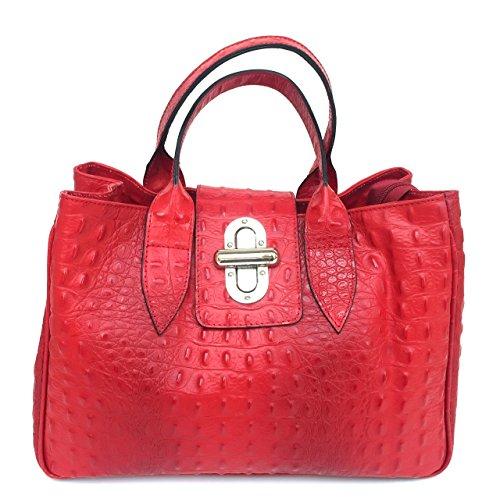 Croco crocodile à Sac Italy imprimé main véritable model Milena Rouge SUPERFLYBAGS Made in en cuir wv0dnq5