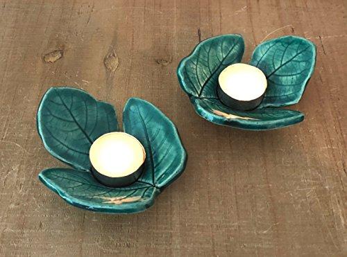 Fig Ceramics (Handmade Ceramic Fig Leaf Tea Light Holders, Pair of 2)