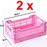 2 x AY-KASA Collapsible Storage Bin Container Basket Tote , Folding Basket CRATE Container : Storage , Kitchen , Houseware Utility Basket Tote Crate Mini-BOX (BABY PINK)