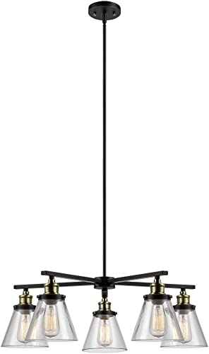 Globe Electric 65617 Jackson, 5 Light, Oil Rubbed Bronze Antique Brass