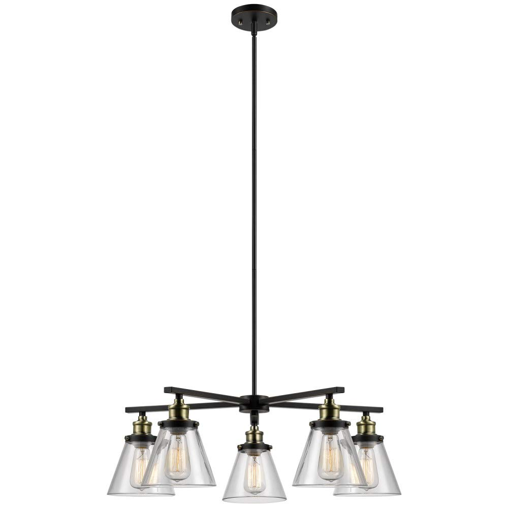 Globe Electric 65617 Shae 5 Light Vintage Edison Chandelier Bronze Color Oil Rubbed Finish Antique Brass Decorative Sockets Clear Glass Shades